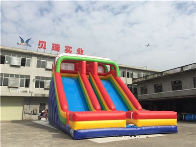 Industrial Double Lanes Inflatable Slides For Sale BY-DS-082